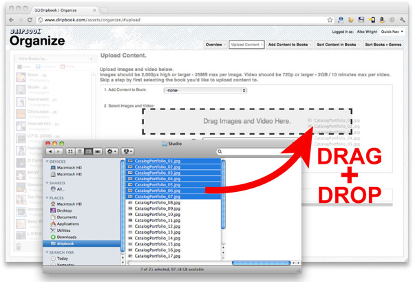 Dripbook's Drag+Drop HTML5 uploader